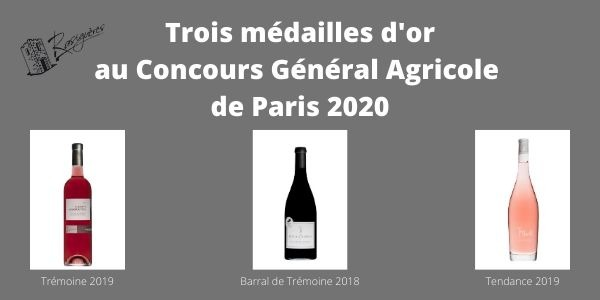 3 médailles d'or au CGA de Paris 2020